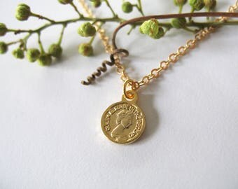 Ancient Coin Matte Gold Necklace, Tiny Coin Necklace, minimalist pendant charm jewelry, Minimalist Charm Necklace, Girls Jewelry - Tamar Bar