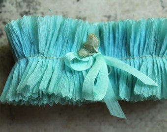 2 Inch Wide Bluebird Crepe Paper Ruffles - Aqua Blue Ruffled Paper Trim - Handmade Wedding Backdrop Ruffle Garland