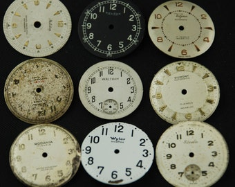 Vintage Antique Watch Dials Steampunk Faces Parts Altered Art Industrial O 69