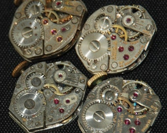 4 Vintage Watch Movements Parts Steampunk Altered Art Assemblage R 94