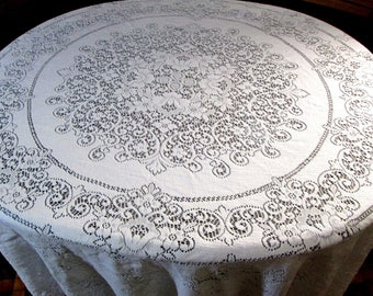 Quaker Lace Tablecloth White Vintage Table Linens 70 x 80 in. Table Cloth Shabby Chic Cottage Decor Antique Lace Dining Table MINT Tag