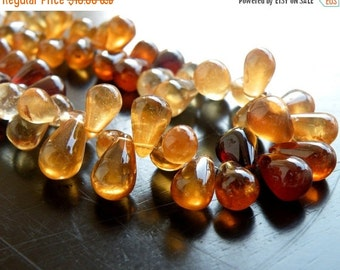 Final 51% off Sale Hessonite Garnet Gemstone Briolette AAA Smooth teardrop 7 to 8.5mm 20 beads 1/2 Strand