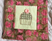Hand Embroidered Wallhanging Quilt - Cupcake