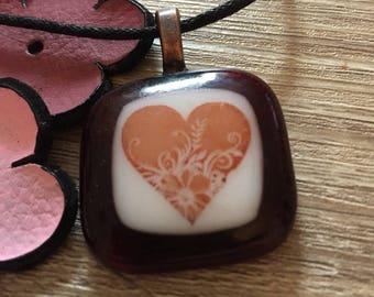 Dark Red Fused Glass Pendant - HEART