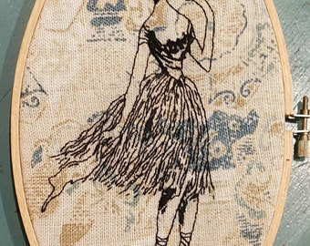Handsewn Edward Gorey ballerina on vintage fabric