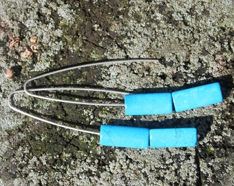 Turquoise dangle sterling silver earrings, Long earrings, Dangle silver earrings, Gemstone earrings, Dangle turquoise earrings