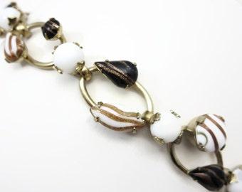Rhinestone Bracelet - Art Glass, Milk Glass, Aventurine, Copper Sparkle, Pik NY Costume Jewelry