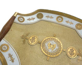 Georges Briard Gold Butterfly Tray - Wooden Handled Glass Mid Century Old Hollywood Regency