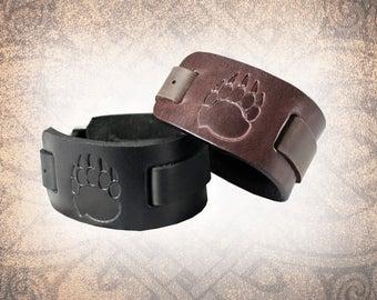 Bear Paw Watch Cuff, Watch Cuff, Leather Watch Strap, Leather Watch Band, Brown Watch Cuff, Men's Watch Cuff - Custom to You (1 cuff only)