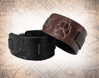 Wolf Paw Watch Cuff, Watch Cuff, Leather Watch Strap, Leather Watch Band, Brown Watch Cuff, Men's Watch Cuff - Custom to You (1 cuff only)