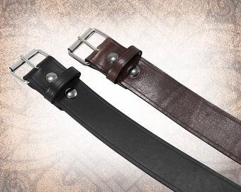 Classic Plain Belt - Wide Black -  Black or Brown - Black Leather Belt, Leather Belt, Mens Leather Belt, Brown Leather Belt, (1 Belt Only)