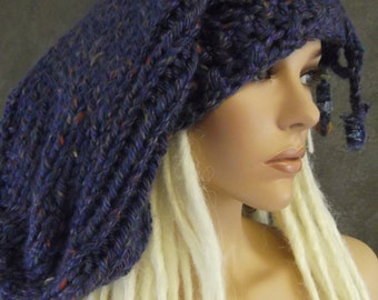 Accessory,Slouchy Hat,Handknit Hat, Super Slouchy Hat, Blue,Purple,Dreadlock Hat,Women,Winter,