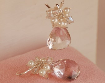 Pink Amethyst Earrings, Gemstone and Pearl Earrings, Luxury Bridal Jewelry, Wedding Earrings, Bridal Earrings - The Versailles Earrings
