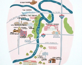 My City of Fort Worth- Print, Fort Worth Texas, Map, Map of Fort Worth Texas, housewares. Baby, kids, art for kids, decor