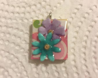 Scrabble Tile Pendant Necklace Purple and Teal Flowers Party Favors Teacher Gift Birthday Gift
