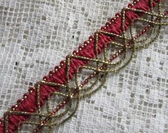"1 Yard Vintage Metallic Trim Ribbon 11/16"" Wide Burgundy & Gold Very Fancy Old Store Stock OST 101"