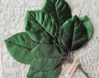 Vintage Millinery Leaves 1950s Japan Ombre Satin Rose Leaves  VL 01