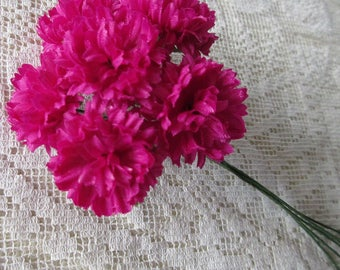 Fabric Millinery Flowers From Austria 6 Deep Pink Ruffly Chrysanthemums #A52DP