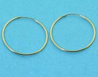 27mm 14k Solid Yellow Gold Round Hoop Earrings Earwires