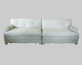 hollywood regency mint green brocade upholstered sectional sofa