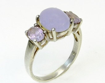 Vintage Sterling Silver Lavender Purple Gemstone Ring