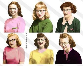 Nerdy Girls, Digital Collage Sheets, Ladies  No. 16, Vintage Women, 12 separate PNG images Included (Sheet no. L16ab) Instant Download