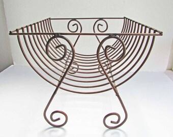 Mid Century Design Vintage Copper Metal Bentwood Style Open Basket, Catchall, Towel Bin, Storage Basket, Copper Surface Patina