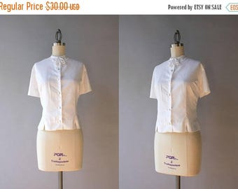 STOREWIDE SALE 1960s Blouse / Vintage 50s 60s White Summer Blouse / 1950s Bow Neck Blouse M/L large