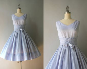 Reserved . . . 1950s Dress / Vintage 50s Sundress / 50s Ice Blue Bows Cotton Sundress S small