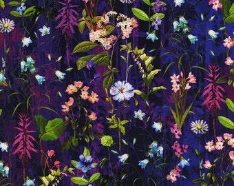 Wildwood Way Flowers Purple Digital RJR Fabric 1 yard