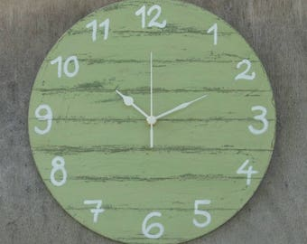 Round Wall Clock Green Shabby Chic