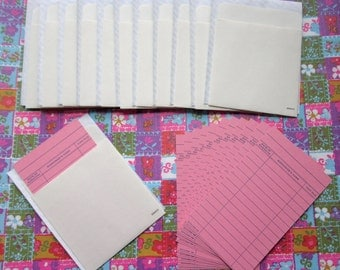 15 sets manila library book pockets self adhesive peel and stick w pink library cards