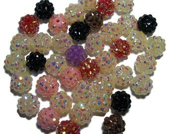 SALE Resin rhinestone 12mm round bead mix pave beads 40 pcs