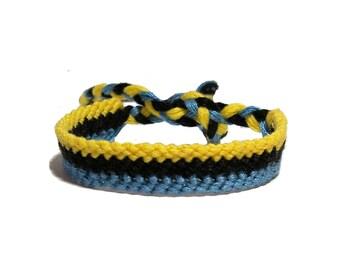 Friendship Bracelet 3 in 1 style bracelet yellow black blue