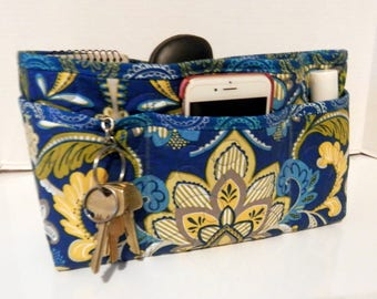 Quilted Purse Organizer Insert With Enclosed Bottom Large - Royal Blue Print