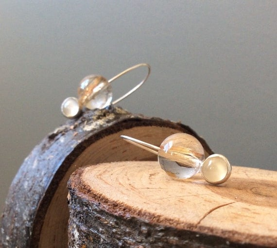 Sterling Silver Earrings with Rutilated Quartz and Moonstone