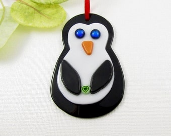 Fused Glass Penguin Ornament - Fused Glass Penguine Christmas Ornament with Dichroic Glass Eyes - Black and White - Bird Ornament