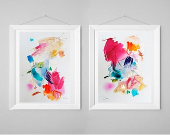 Abstract painting, acrylic painting, watercolor original, wall art, diptych painting, gift for her, home decor, modern painting, colorful