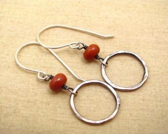 Red jasper earrings - boho red earrings - boho silver earrings - red silver jewelry - red rustic earrings - red rustic jewelry - sterling