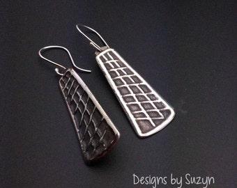 ON SALE Earrings, silver,handmade,designsbysuzyn, dangle, lightweight