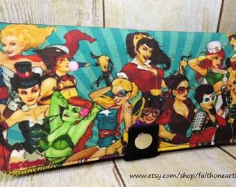 WW2 Woman Bombshells wallet Handmade Long fandom Wallet - Vegan Wallet - girl Super Hero wallet