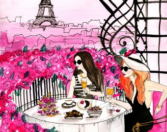 Brunch In Paris Fashion Illustration Print