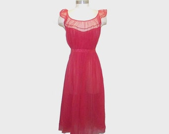 1960s lingerie / vintage 60s slip / extra small  / Soft Red Nylon Night Gown by Vanity Fair