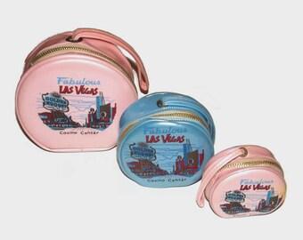 1960s Las Vegas wallet / 60s vinyl coin purse / Las Vegas Pink and Blue Nesting Pouches Set of Three