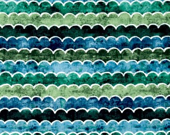 Under the Ocean Blue Waves Green Blue Color ~  Katie Doucette for Wilmington Fabrics, Cotton Quilt