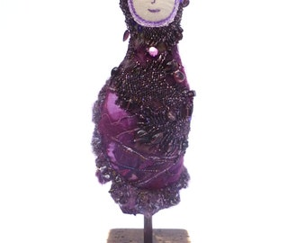 Priya soft sculpture fiber art collectible doll, fiber collage, bead embroidery, home decor, eco-friendly, hand stitched, fantasy