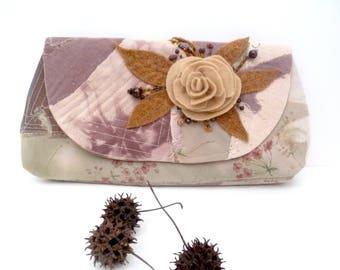 Monochromatic brown clutch, fiber art purse, beige fiber collage, embroidered, featured in Haute Handbags Spring 2017 issue