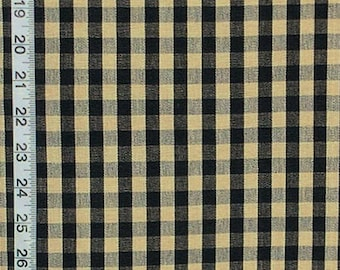 Black natural tan checked fabric gingham checks cotton interior home decorating material  RT-Chest-DC07 Sold BTY 1 yard