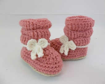 Baby Slouch Booties Cameo Pink Crochet Booties 6 Month Size Baby Shoes Ugg Style