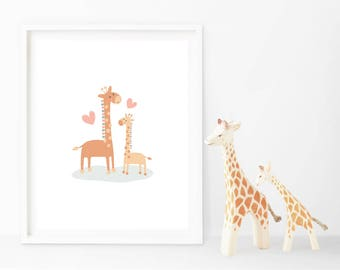 INSTANT DOWNLOAD - Giraffe and Baby Nursery Art Print - great for kids and as a gift - Printable - A4 and 8 x 10 inches